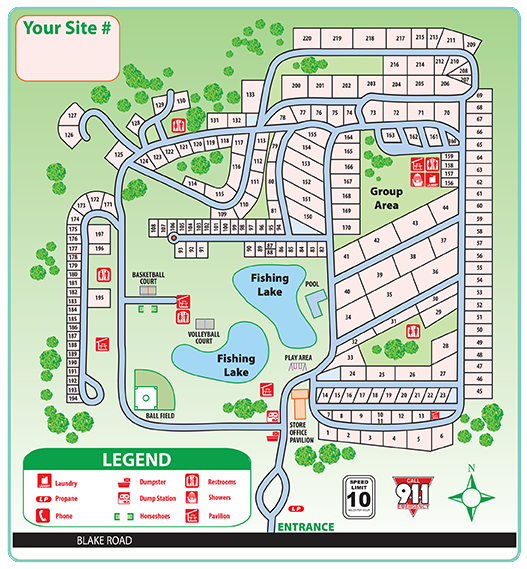 campground map for maple lakes